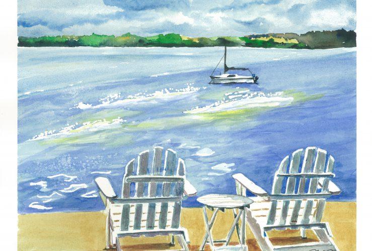 Lake watercolor summer